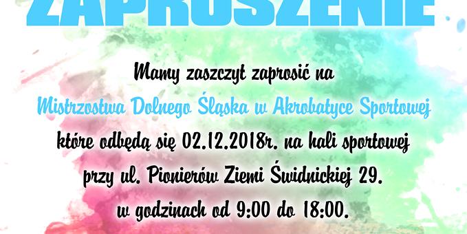 Mistrzostwa Dolnego Śląska w Akrobatyce Sportowej, 2.12.2018 r., ŚWIDNICA