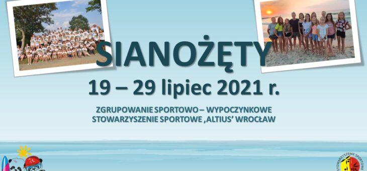 Zgrupowanie sportowo-wypoczynkowe SIANOŻĘTY 2021 – ZAPISY NA LISTĘ REZERWOWĄ